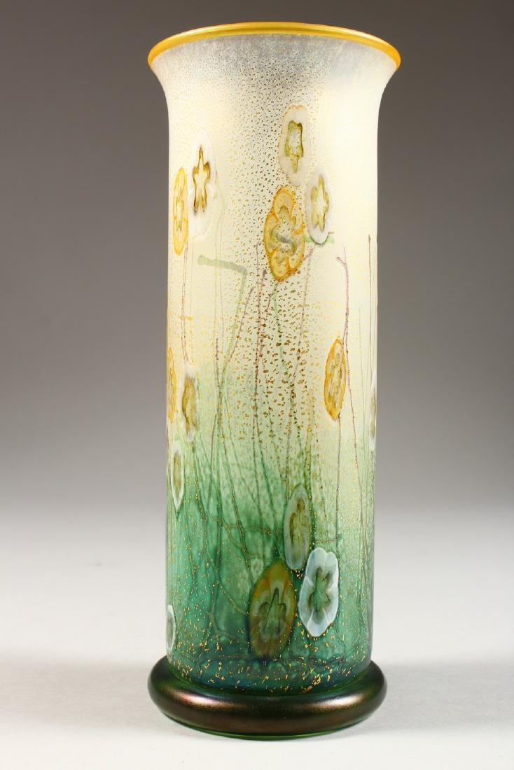 A VERY GOOD ART NOUVEAU GLASS VASE, painted with - 5