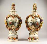A SUPERB PAIR OF MEISSEN PATTERN TWO HANDLED URN SHAPED