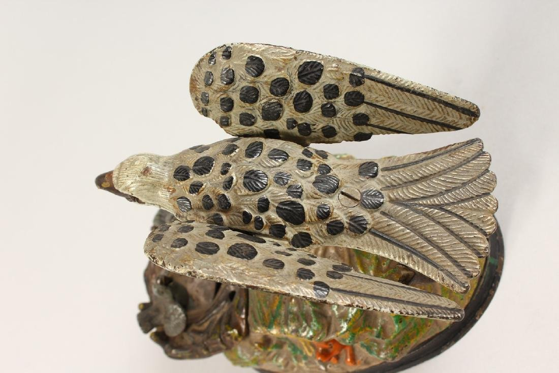 AN EAGLE AND EAGLET CAST IRON MECHANICAL BANK, 1883, - 4