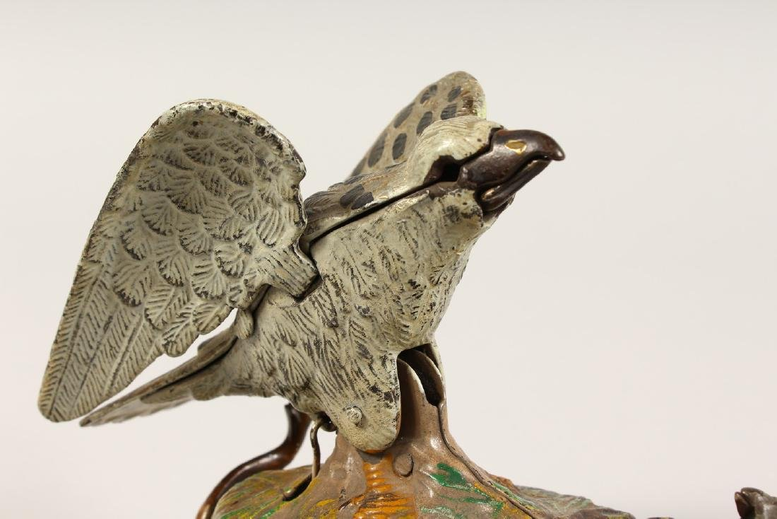 AN EAGLE AND EAGLET CAST IRON MECHANICAL BANK, 1883, - 6