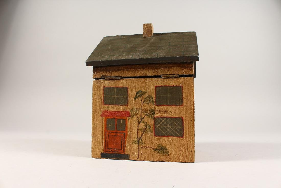 A PAINTED HOUSE TEA CADDY.  6ins. - 2