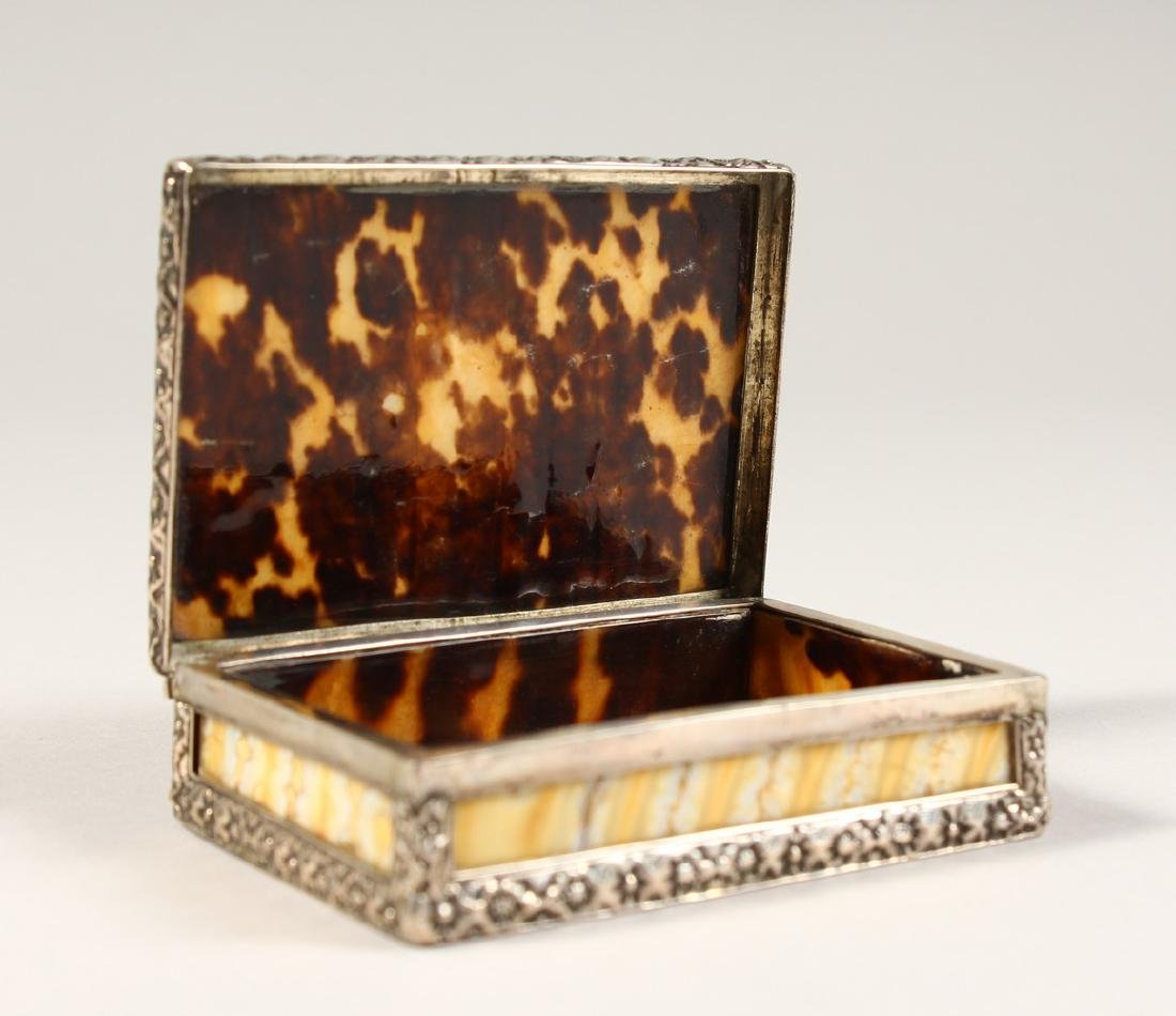 A MAMMOTH TOOTH, TORTOISESHELL AND SILVER FRAMED SNUFF