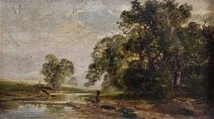 Circle of John Constable (1776-1837) British. A River