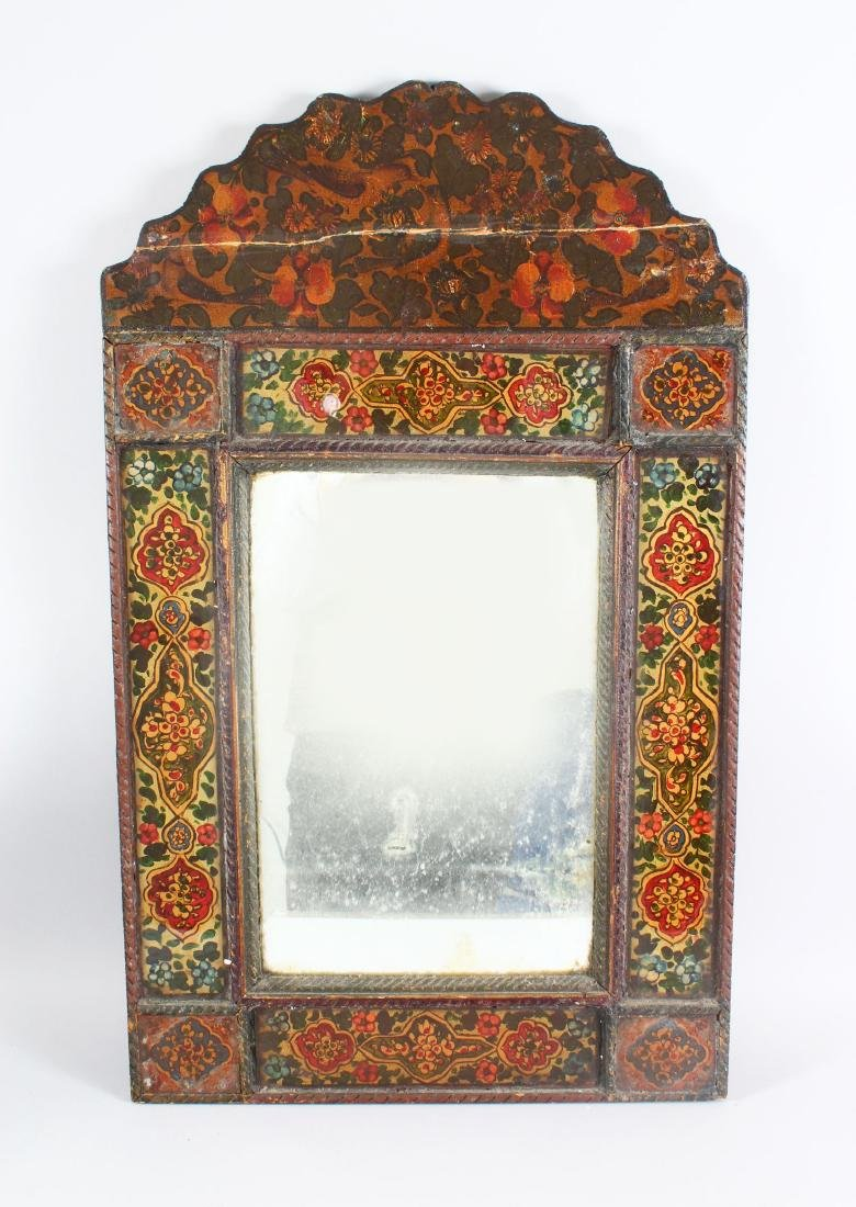 A 19TH CENTURY PERSIAN QAJAR HAND PAINTED WOODEN