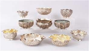A MIXED LOT OF INDIAN SOLID SILVER BOWLS, one Kashmiri