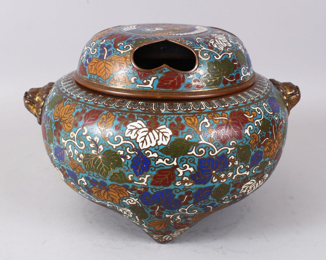 A LARGE CLOISONNE ENAMEL BRONZE CENSER AND COVER, with
