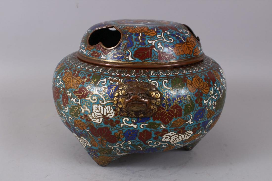 A LARGE CLOISONNE ENAMEL BRONZE CENSER AND COVER, with - 2