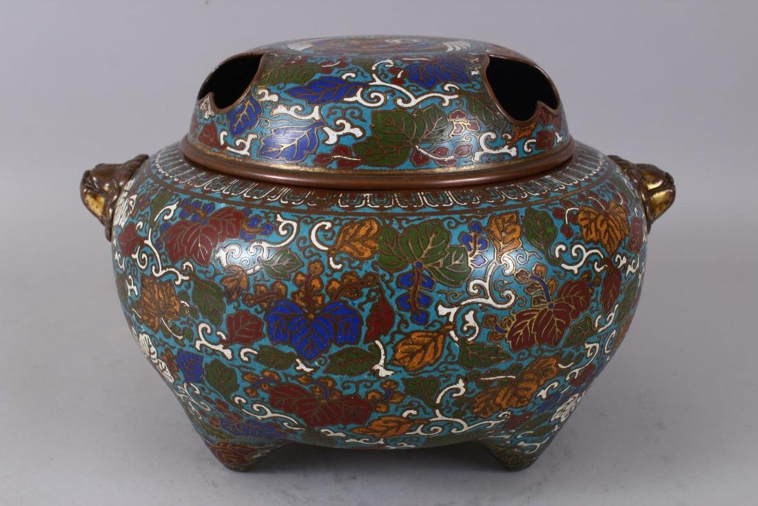 A LARGE CLOISONNE ENAMEL BRONZE CENSER AND COVER, with - 3