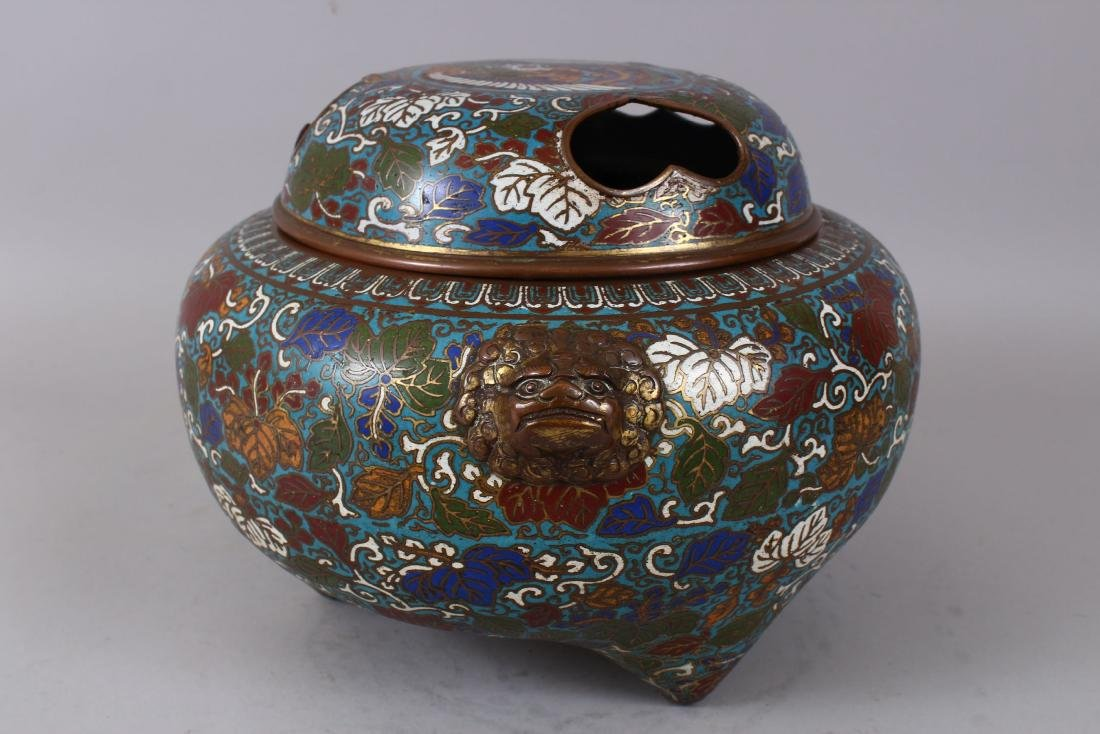 A LARGE CLOISONNE ENAMEL BRONZE CENSER AND COVER, with - 4