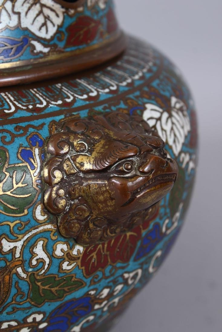 A LARGE CLOISONNE ENAMEL BRONZE CENSER AND COVER, with - 5