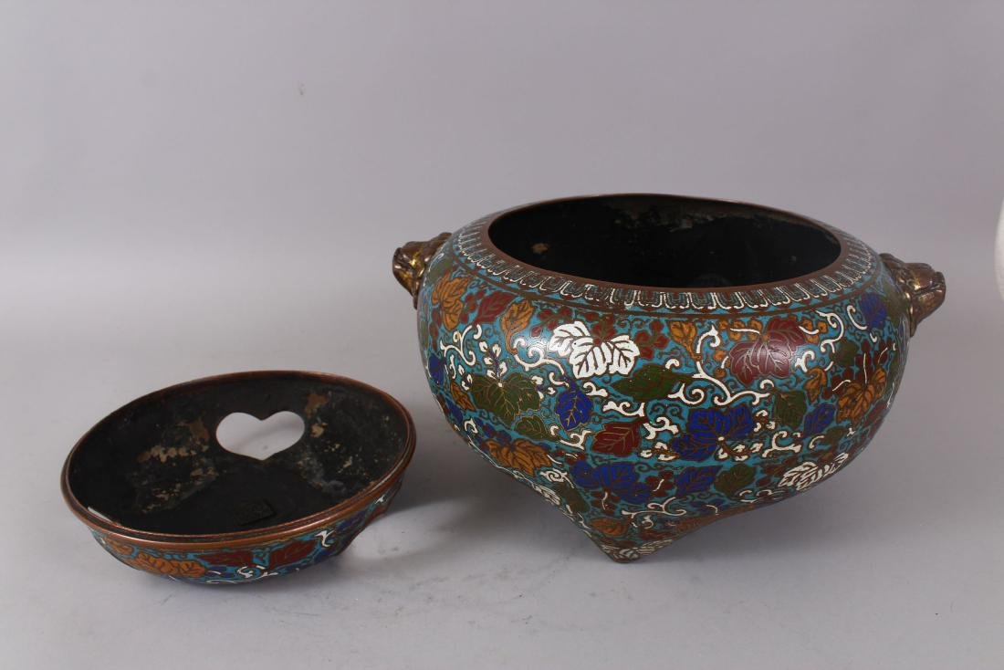 A LARGE CLOISONNE ENAMEL BRONZE CENSER AND COVER, with - 6