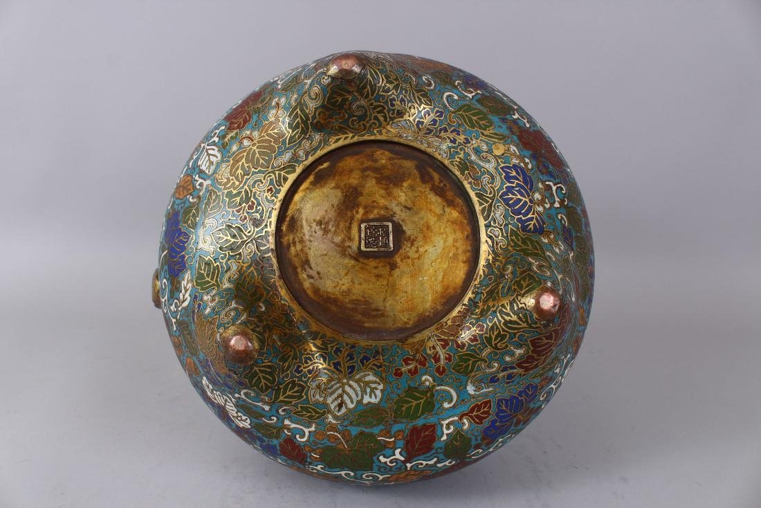 A LARGE CLOISONNE ENAMEL BRONZE CENSER AND COVER, with - 8
