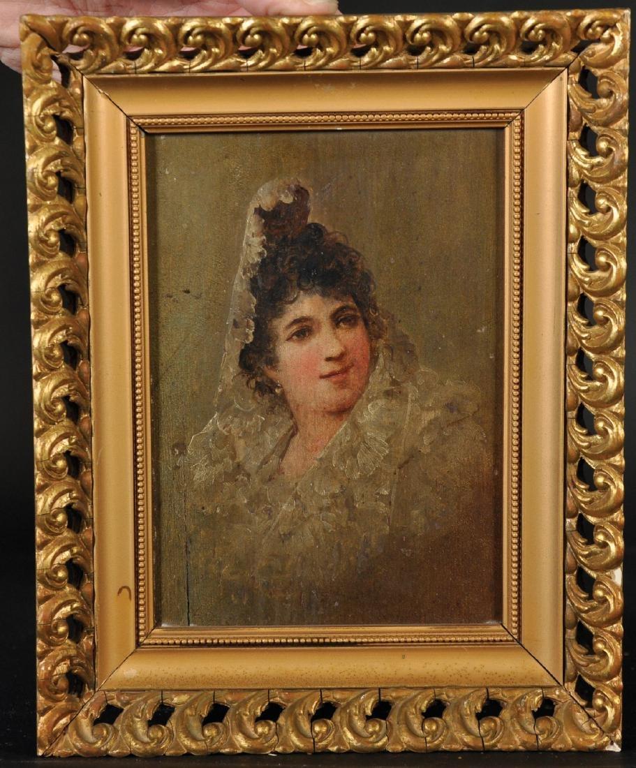 19th Century Spanish School. Portrait of a Lady wearing - 3