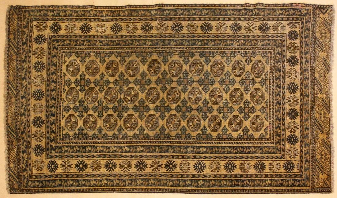 A BOKHARA RUG, beige ground with three rows of ten