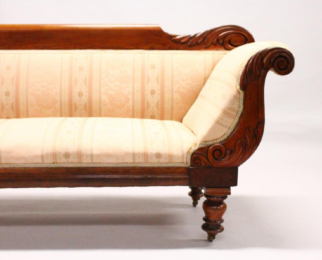 A VICTORIAN MAHOGANY SCROLL END SETTEE, with carved
