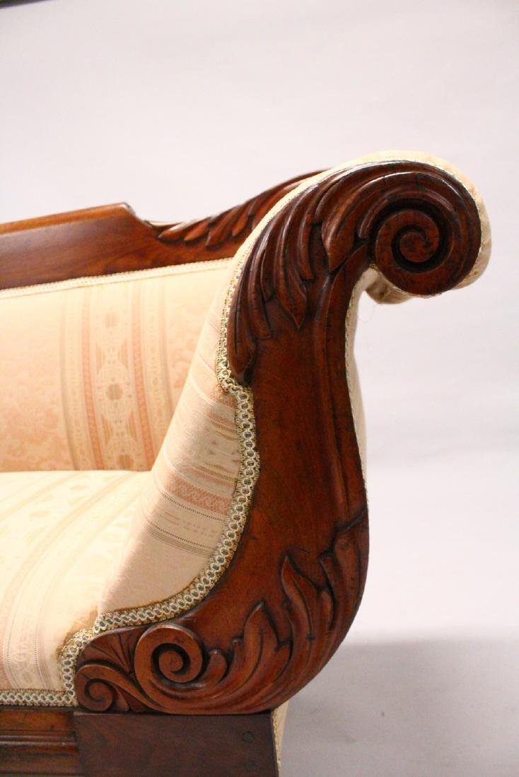 A VICTORIAN MAHOGANY SCROLL END SETTEE, with carved - 4