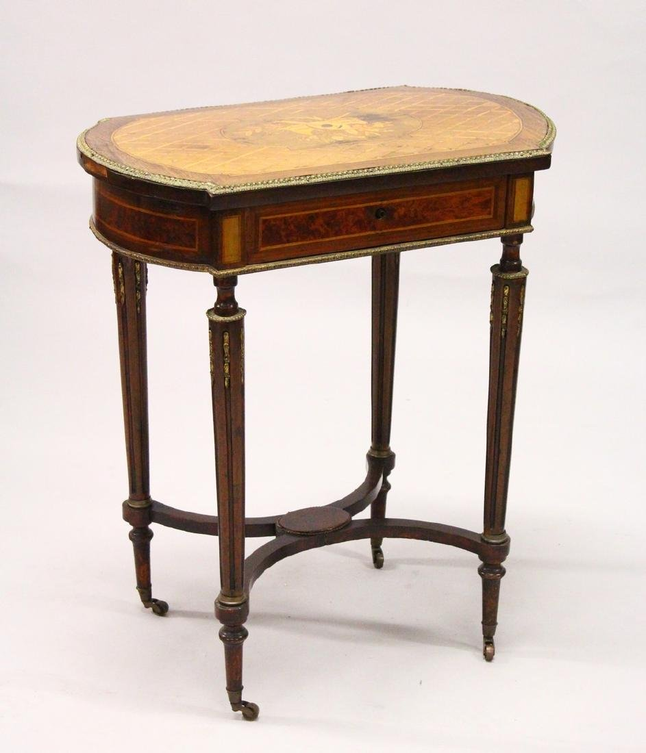 A 19TH CENTURY FRENCH KINGWOOD AND MARQUETRY INLAID