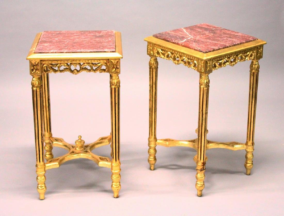A PAIR OF FRENCH STYLE GILTWOOD SQUARE STANDS, inset