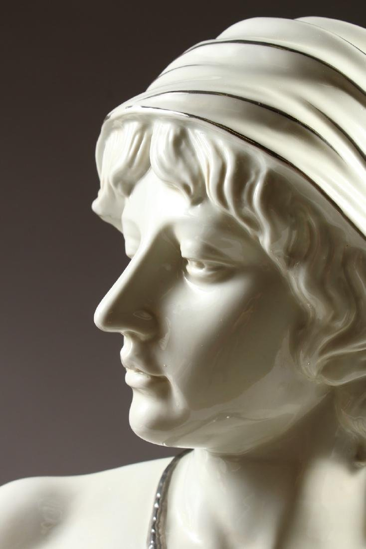 AN ART NOUVEAU STYLE GLAZED POTTERY BUST OF A YOUNG - 2