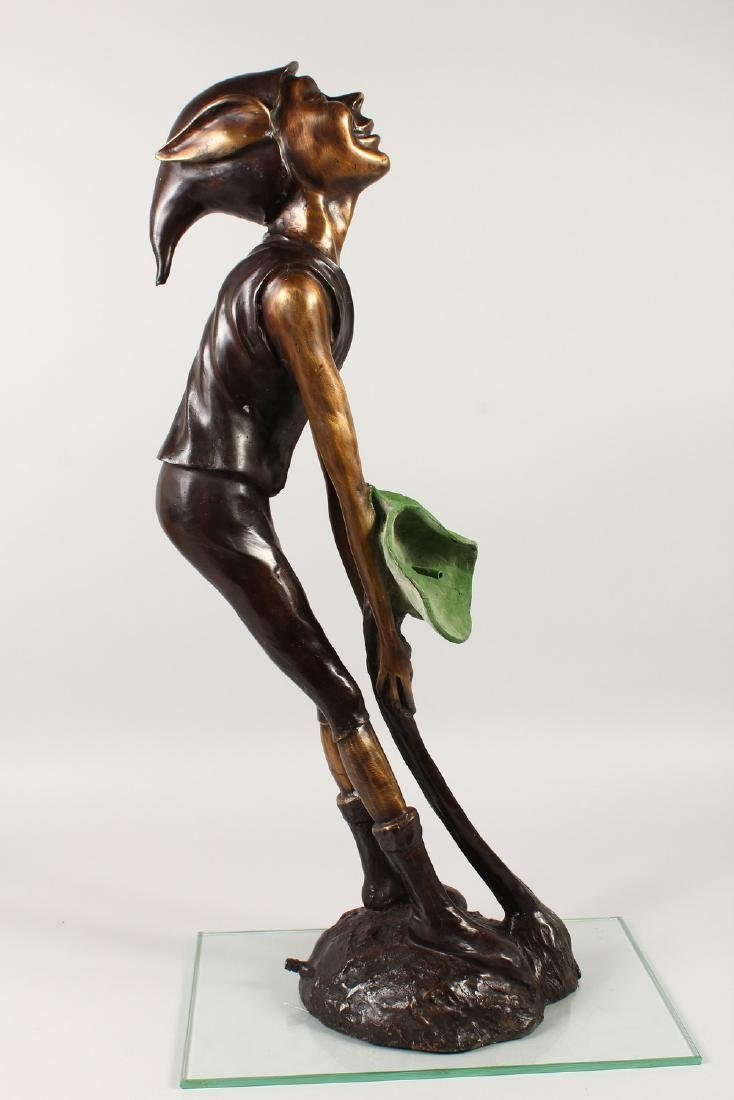 AN AMUSING BRONZE FOUNTAIN, modelled as a pixie holding - 4