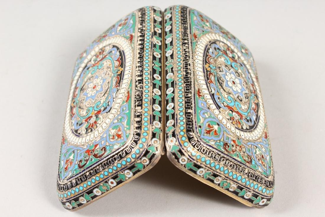 A RUSSIAN SILVER AND ENAMEL CIGARETTE CASE.  4.75ins x - 2