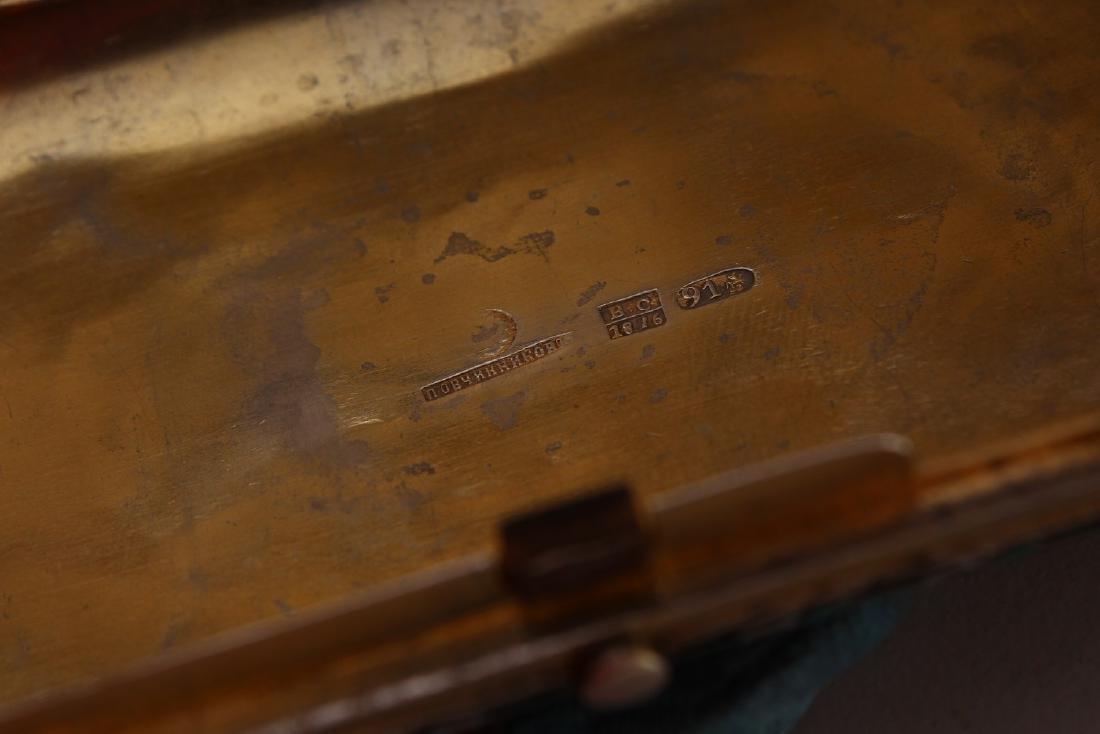 A RUSSIAN SILVER AND ENAMEL CIGARETTE CASE.  4.75ins x - 7