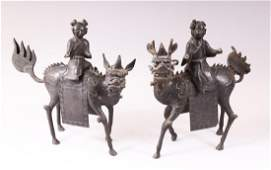 A PAIR OF CHINESE MING DYNASTY BRONZE LIDDED CENSORS IN