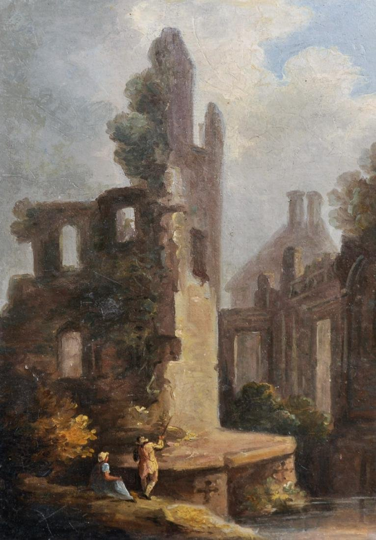 Early 19th Century English School. Figures by Ruins,