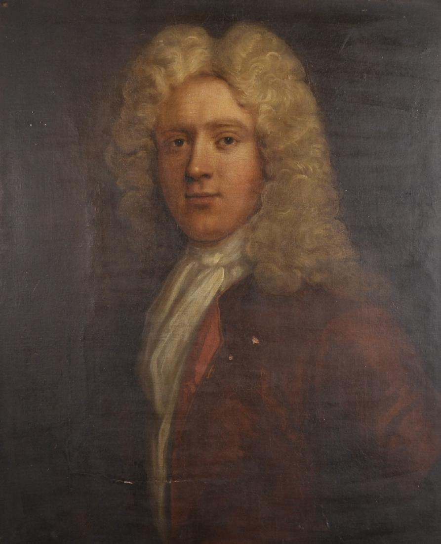 18th Century English School. Bust Portrait of a Wigged