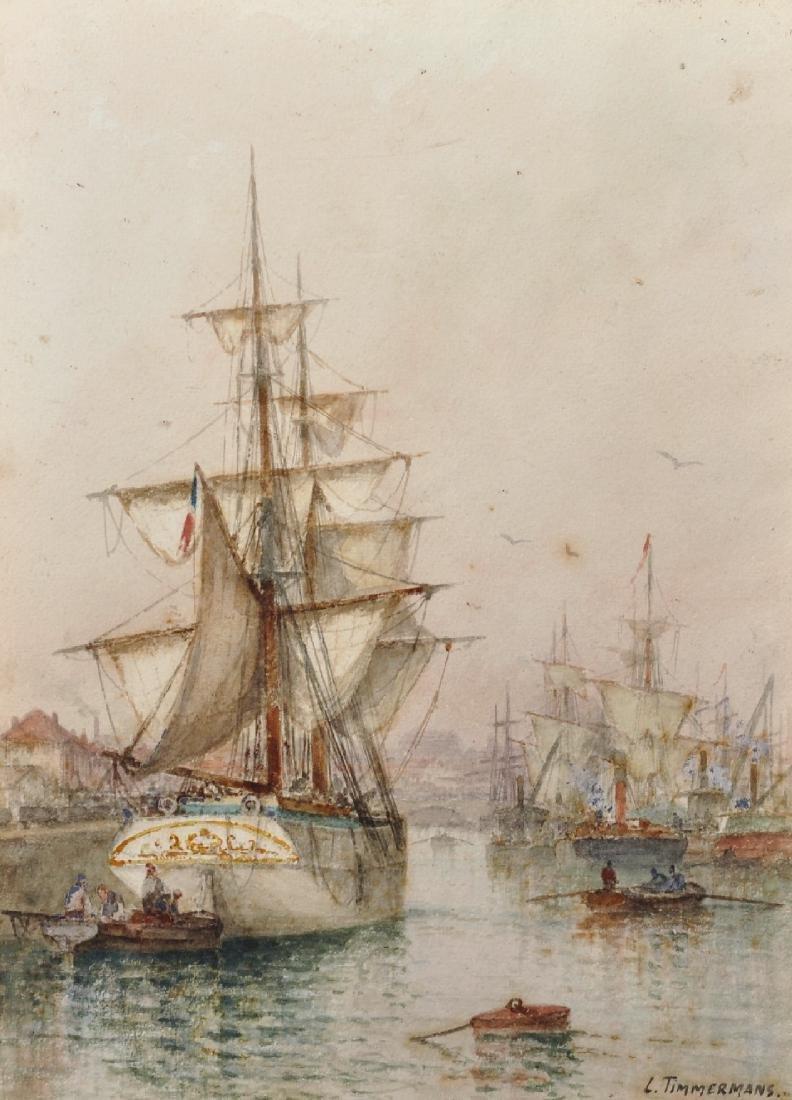 Louis Etienne Timmermans (1846-1910) Belgian. A Harbour