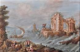 18th Century Italian School. Figures in a River