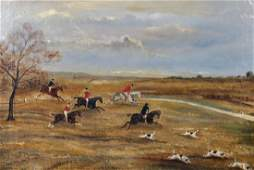 19th Century English School A Hunting Scene with Dogs