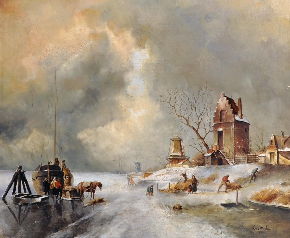 20th Century Dutch School. A Winter Scene, with