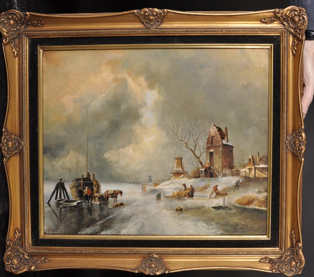 20th Century Dutch School. A Winter Scene, with - 3