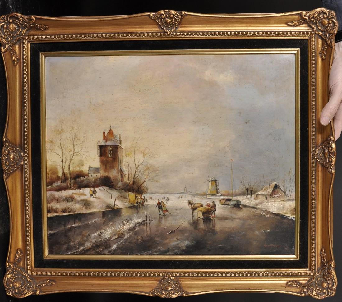 20th Century Dutch School. A Winter Scene, with - 4