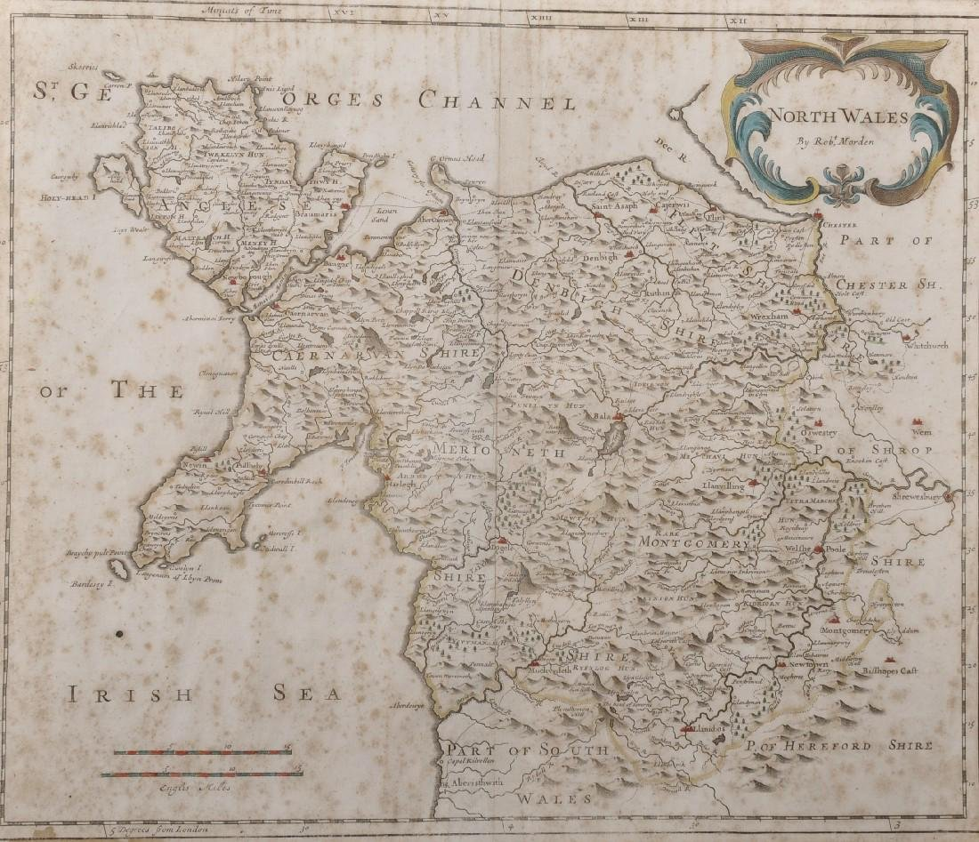 "Robert Morden (1650-1703) British. ""North Wales"", Map,"
