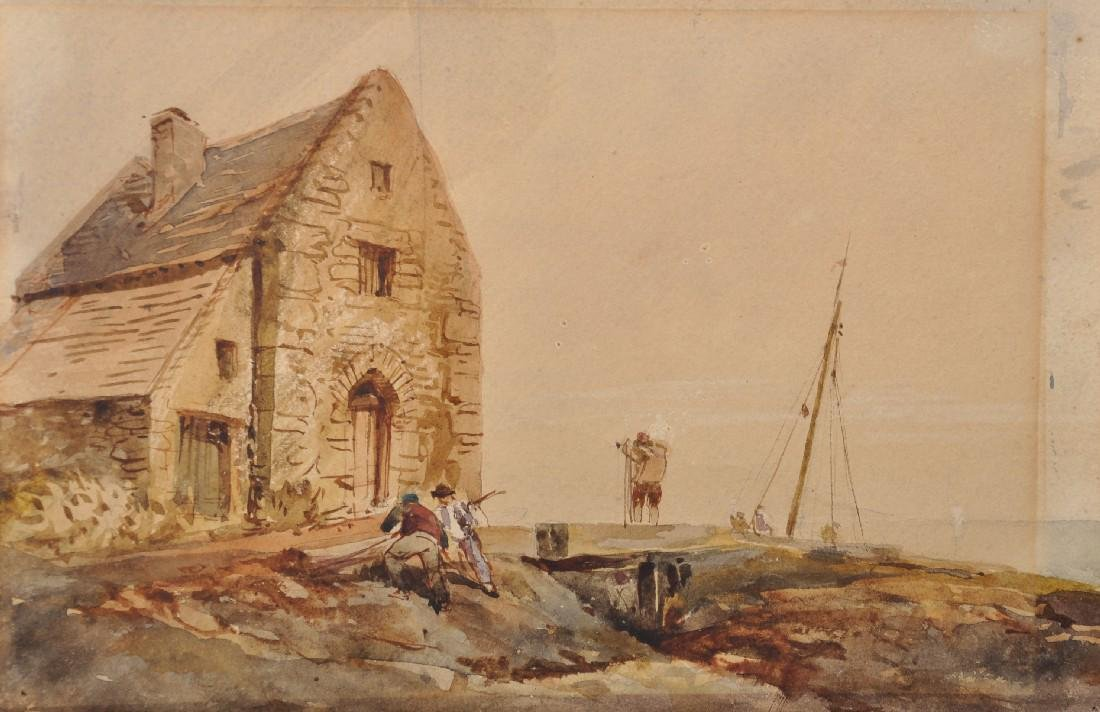19th Century English School. Figures outside a Cottage,