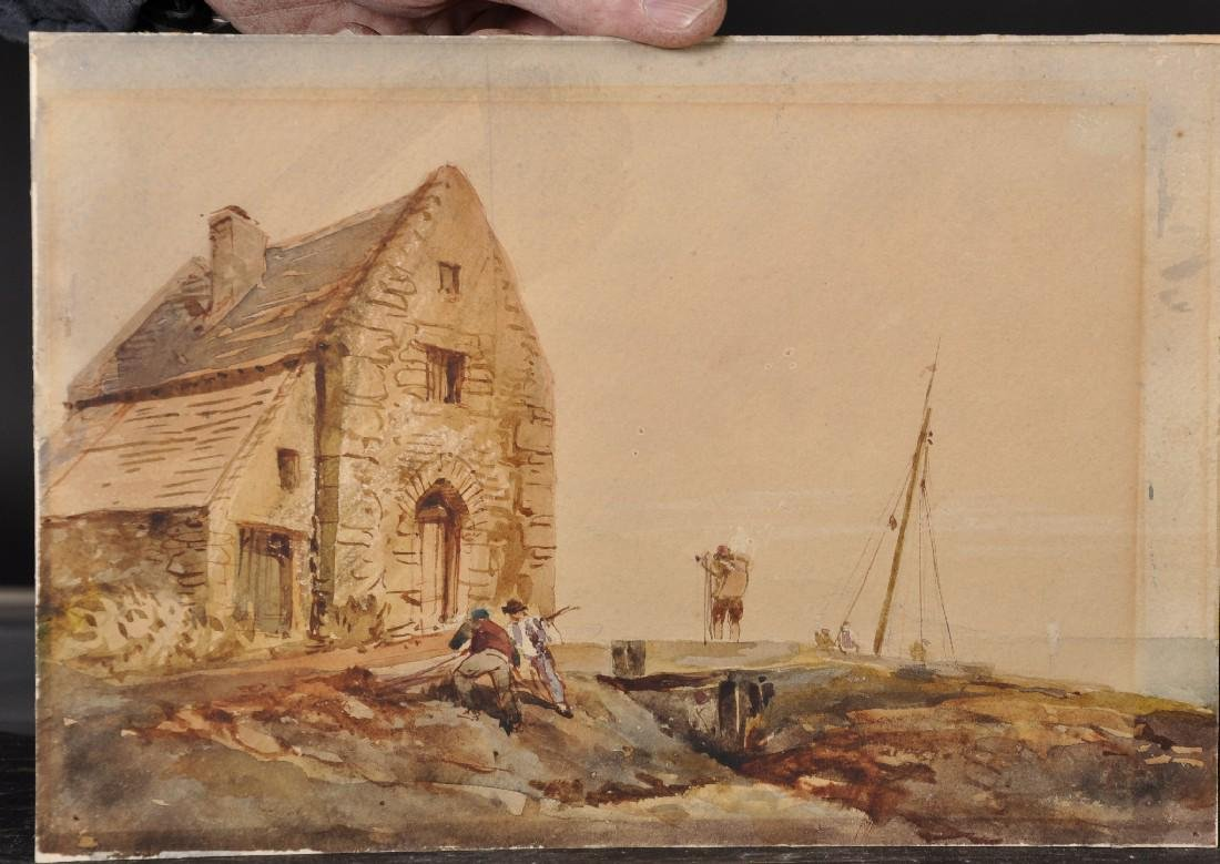 19th Century English School. Figures outside a Cottage, - 2