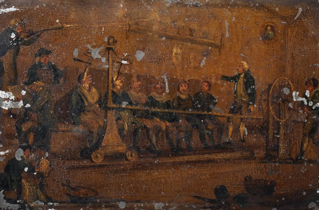 18th Century English School. A Mechanical Barber Shop,