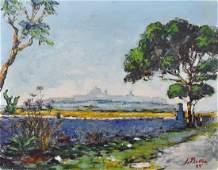 Joseph Bellia (1932-1999) Maltese. A River Landscape,