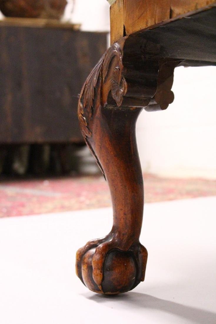 A GEORGE II / III WALNUT WING ARMCHAIR, with a veneered - 3