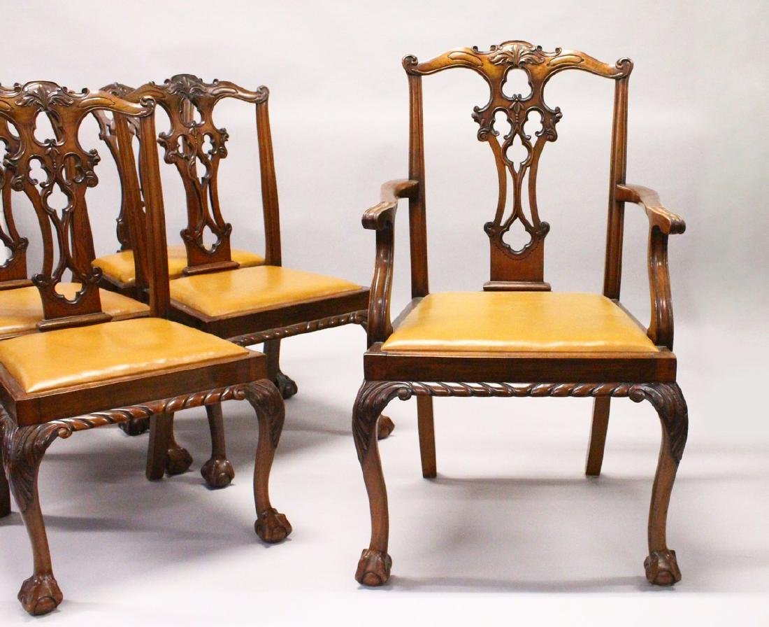 A SET OF SEVEN AND TWO SIMILAR CHIPPENDALE STYLE