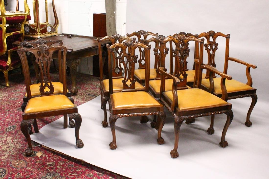 A SET OF SEVEN AND TWO SIMILAR CHIPPENDALE STYLE - 2