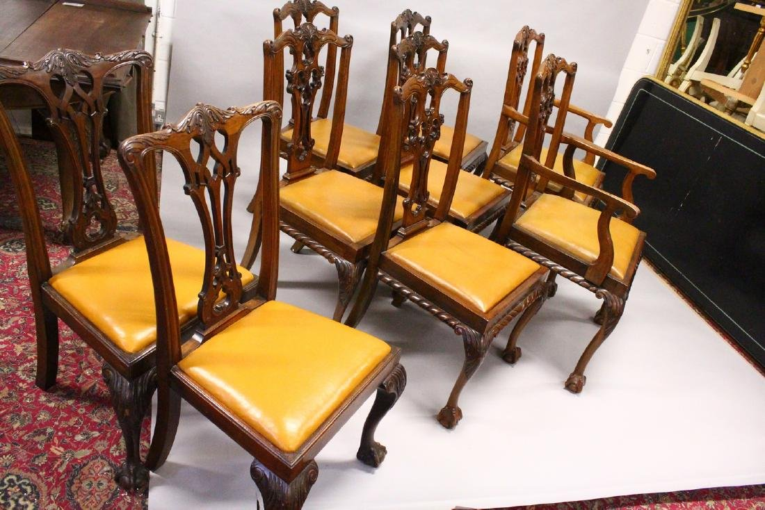 A SET OF SEVEN AND TWO SIMILAR CHIPPENDALE STYLE - 4