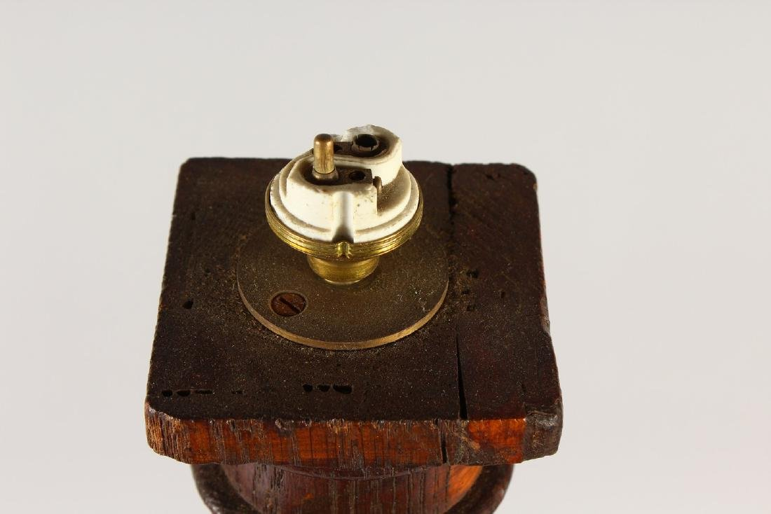A 19TH CENTURY TURNED AND CARVED WOOD LAMP BASE, on a - 4