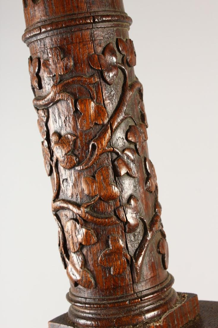 A 19TH CENTURY TURNED AND CARVED WOOD LAMP BASE, on a - 7