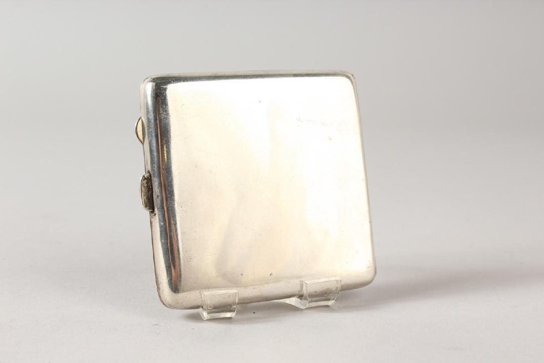 A PLAIN SILVER CIGARETTE CASE, Birmingham 1915, the lid - 3