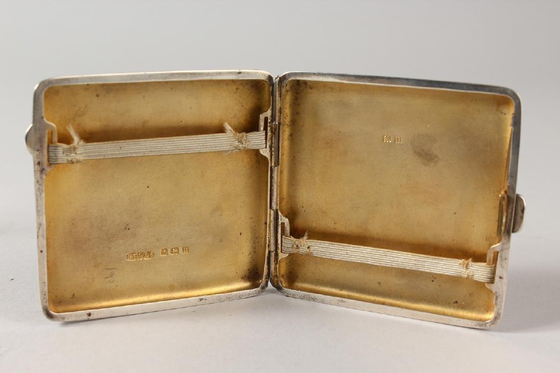 A PLAIN SILVER CIGARETTE CASE, Birmingham 1915, the lid - 4