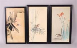 A SET OF THREE 19TH  20TH CENTURY JAPANESE FRAMED