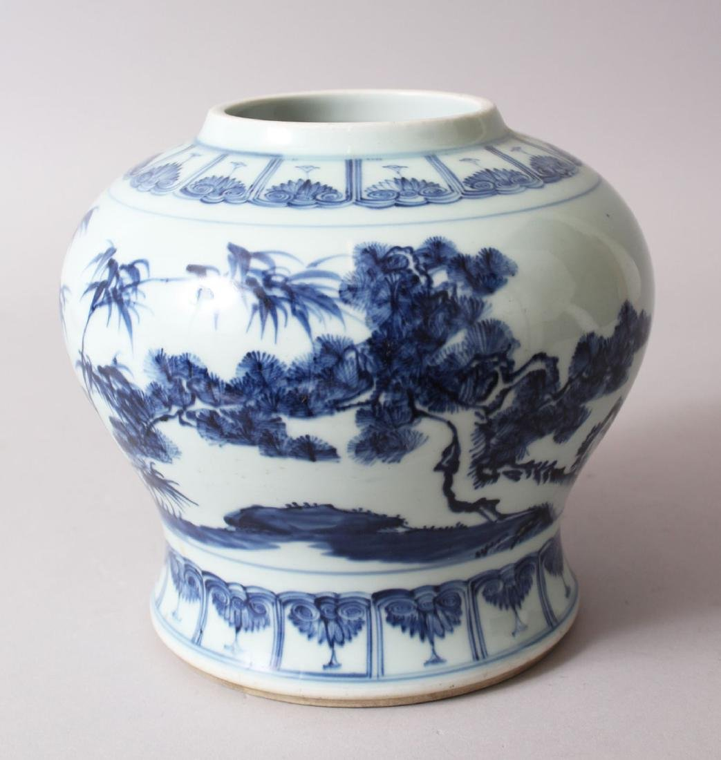 A CHINESE BLUE & WHITE PORCELAIN GINGER JAR, decorated